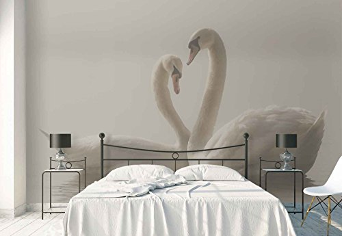 Photo wallpaper wall mural - Swans Pair Love Mist - Theme Animals - XL - 12ft x 8ft 4in (WxH) - 4 Pieces - Printed on 130gsm Non-Woven Paper - 1X-669942V8 ()