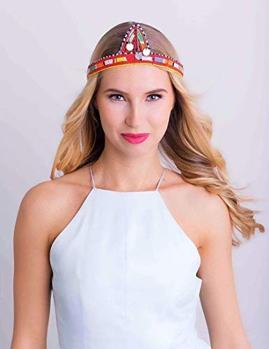 Authentic Maasai Crown Beaded Multicolored Headpiece, used for sale  Delivered anywhere in USA