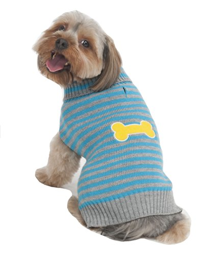 Fashion Pet Bone Patch (Fashion Pet Striped Bone Patch Dog Sweater, X-Large,)