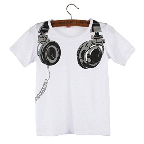 Usstore Boy Kids Children Headphone Short Sleeve Tops Blouses T Shirt (90cm, (Planet White Headphone)