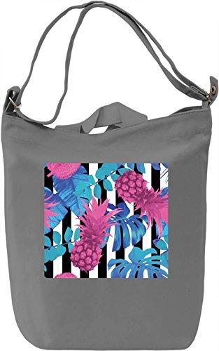 Pineapple Print Borsa Giornaliera Canvas Canvas Day Bag| 100% Premium Cotton Canvas| DTG Printing|