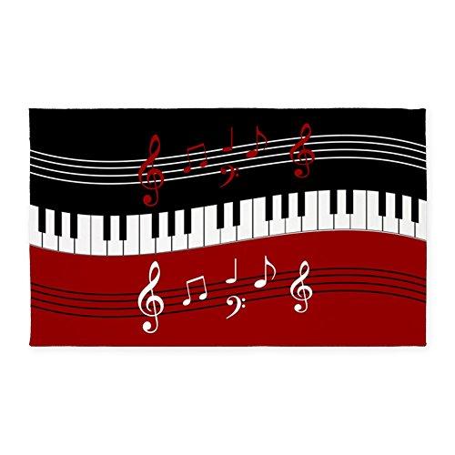 CafePress - Stylish Piano Keys And Musical Notes 3'X5' Area Ru - Decorative Area Rug, Fabric Throw Rug