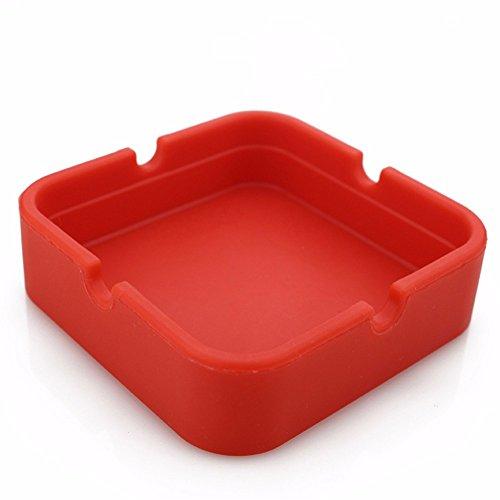 Wffo Silicone Round Ashtray, Eco-Friendly Colorfull Premium Silicone Rubber (Red)