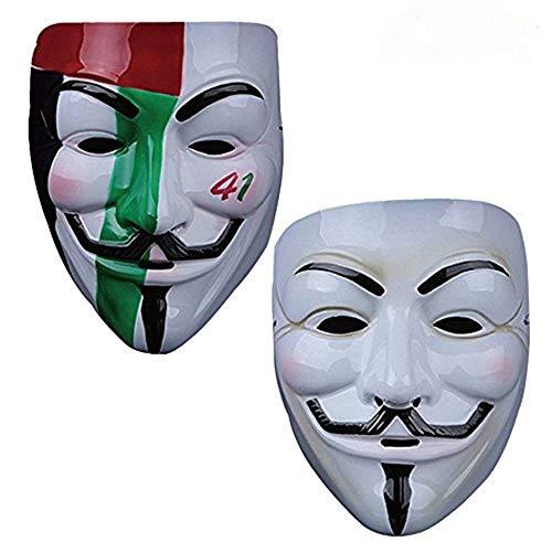 Vendetta Mask Guy V Like Hacker Mask Bundled Sticker Fancy Cosplay Costume Set of 2 (Styel -