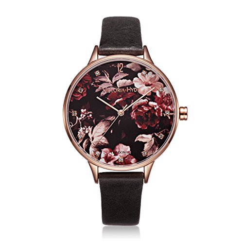 VICTORIA HYDE Ladies Quartz Watch Flower Rose Gold Case Genuine Leather Waterproof For Women