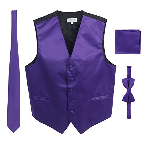 (Men's Formal 4pc Satin Vest Necktie Bowtie and Pocket Square, Purple, Medium)