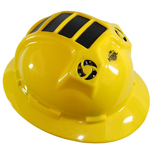Hard Hat Head Protection Kool Breeze Solar Helmet With Rechargeable Battery and Adjustable Ratchet Suspension (Yellow) by Kool Breeze Solar Hats (Image #1)
