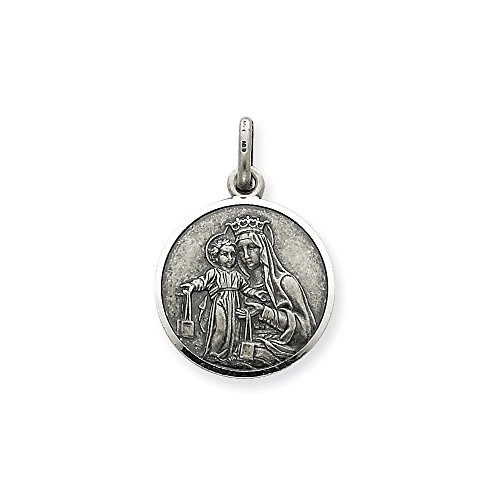 .925 Sterling Silver Our Lady of Mount Carmel Medal Charm Pendant ()