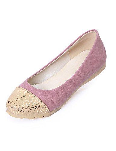 PDX/ Damenschuhe - Ballerinas - Lässig - Kunstleder - Flacher Absatz - Rundeschuh - Rosa / Khaki / Mandelfarben pink-us6.5-7 / eu37 / uk4.5-5 / cn37