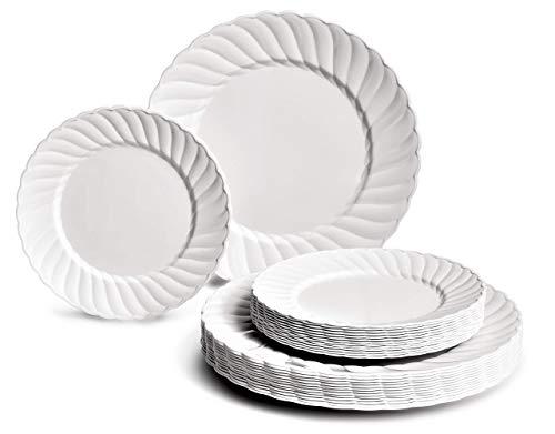 OCCASIONS 240 PACK Heavyweight Wedding Party Disposable Plastic Plates Set - 120 x 10'' Dinner + 120 x 7'' Salad/Dessert Plate (Weave Plain White) (Renewed) 7' Plastic Dessert Plates