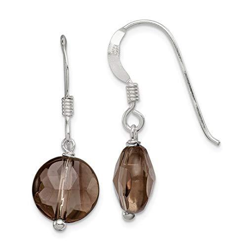 Quartz Necklace Smoky Swarovski (925 Sterling Silver Smoky Quartz Drop Dangle Chandelier Earrings Fine Jewelry For Women Gift Set)