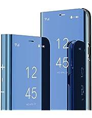 IMEIKONST Compatibel met iPhone 13 Pro 6.1 inch Case, Spiegel Design Bookstyle Make-up Clear View Window Stand Beschermende Flip Cover Compatibel met iPhone 13 Pro. Flip Mirror: Blauw QH