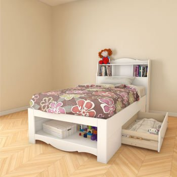 White Wood Twin Bed With Storage And Headboard With Storage Spaces