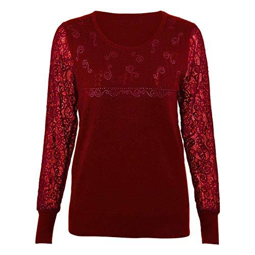 Donna Camicetta Eleganti Primaverile Autunno Camicia A Maniche Lunghe Rotondo Collo Abbigliamento Giuntura Pizzo Pullover Moda Casual Maglioni Vintage Felpe Jumper Bluse Shirts Winered