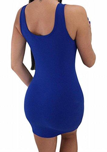 Domple Femmes Gaine Profonde Clubwear V-cou Sexy Manches Mini Moulante Bleu Robe