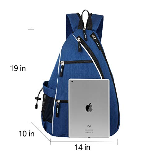 Sucipi Pickleball Bag Reversible Sling Bag for Pickleball Racketball Travel Tennis Bag Sport Sling Backpack for Men Women Blue…