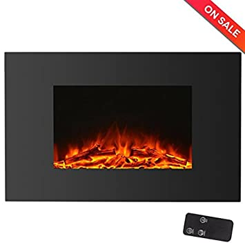 Beautiful HollyHOME 35u0027u0027 Wall Mounted Glass Electric Fireplace With LED Fire And  Remote Control