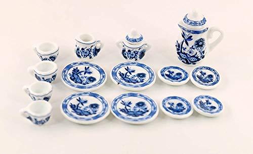 nanguawu Lot of 15 Blue Cornflower Porcelain Dollhouse Miniature Coffee Tea Cup Set