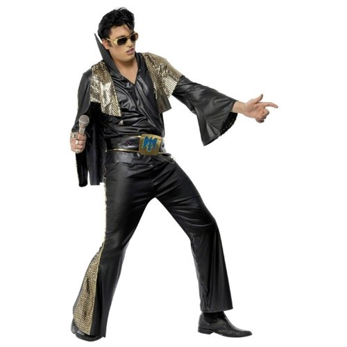 60s -70s  Men's Costumes : Hippie, Disco, Beatles Smiffys Mens Elvis Black and Gold Costume - Chest 42-44