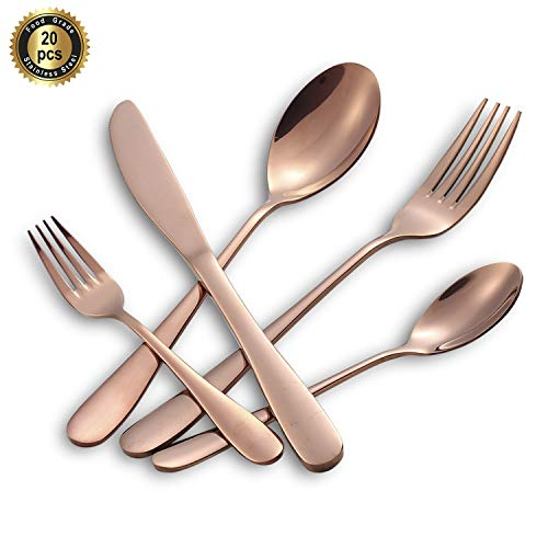 Hoften 20 Piece Rose Gold Silverware Set, Colorfully Plated Stainless Steel Utensils Include Forks, Spoon, Knife Flatware, Cutlery Set Service for 4, Dishwasher Safe (HD822-RG)