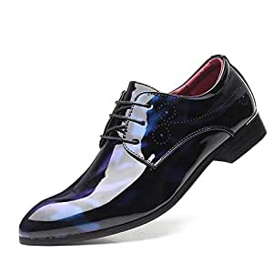 XinQuan Wang Patent Oxfords for Men Business Shoes Lace up Faux Leather Dress Party Low Top Carving Pointed Toe Anti-Slip Rubber Outsole (Color : Blue, Size : 7.5 UK)