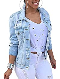 Women Denim Jackets Distressed Button Down Long Sleeve Classic Jean Jacket Coats