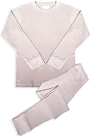 Basico Men's 2pc Long John Thermal Underwear Set 100% Cotton (Small, Ivory)