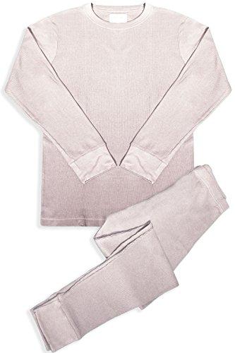 Wool Underwear Long Johns - Basico Men's 2pc Long John Thermal Underwear Set 100% Cotton (Large, Cotton Blend- Ivory)