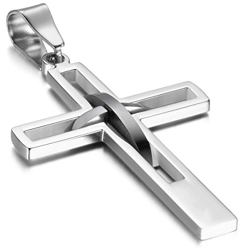Oidea Mens High Polish Stainless Steel Cross Pendant Necklace Hollow Openwork Vintage Chain Included,Silver