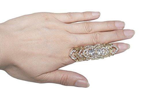Minid Celeb's Full Finger Rhinestone Crystal Ring Armor Knuckle Heart Shield Stacked Finger Ring (Mn112)