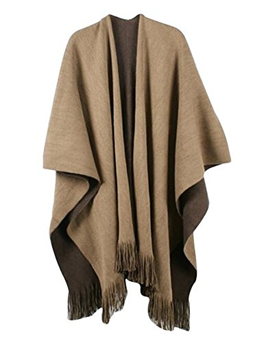 Women Winter Knit Reversible Scarves Coat Oversized Blanket Shawl Scarf Brown