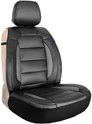 Leader Accessories Black/Grey One Leather Seat Cover Universal Sideless Cushion for Car Truck SUV...