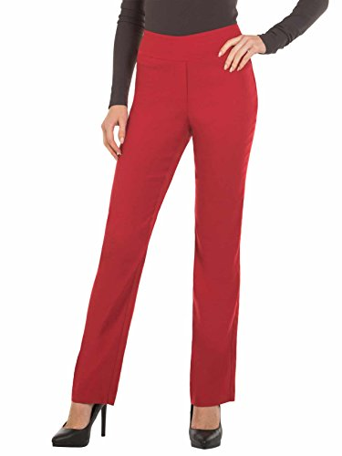 (Bootcut Dress Pants for Women -Stretch Comfy Work Pull on Womens Pant Red-XXL)