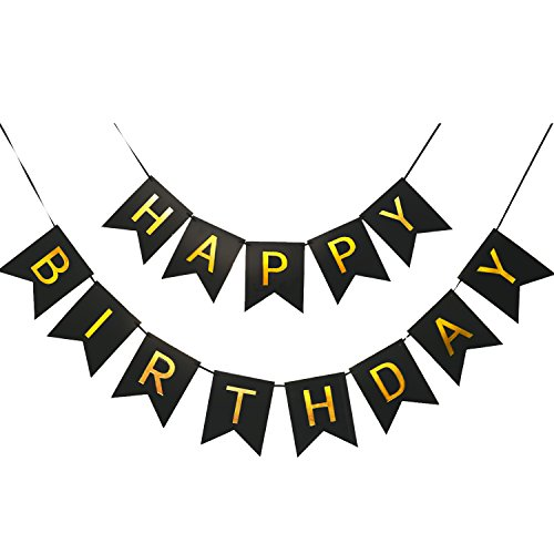 April2 Happy Birthday Banner, 6 7.5 inches Black and Gold Birthday Party Decorations, Perfect for Any Agess Happy Birthday Party, Party Supplies with 13 Cards, 2 Threads and 1 Needle