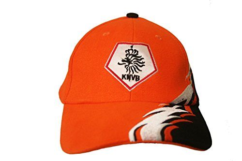 Netherlands Holland Orange With Curved Colored Stripes KNVB Logo BLACK On Brim FIFA Soccer World Cup Embossed Hat Cap .. New - WC .. .. New