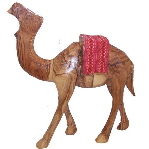 Holy Land Market Olive Wood Camel With Red Saddle(7.2