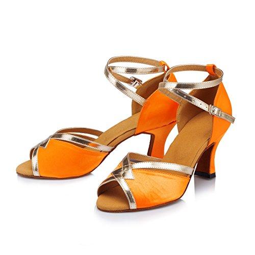 Miyoopark Femmes Peep Toe Satin Salsa Performance Chaussures De Danse Latine Élégant Mariage Bal De Bal Sandales Orange-7cm Talon