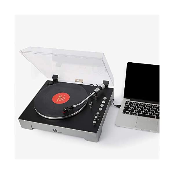 1byone Fully-Automatic 3-Speed Turntable Record Player with Adjustable Counterweight & Pitch Control, Vinyl-to-MP3 USB Computer Recording, Remote Control, Aux-In and Out