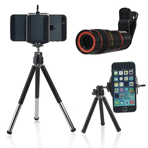 ONX3 (Black + Tripod Holder) Universal Clip-on 8x Zoom Optical Telescope Manual Focus Phone Camera Lens and 360 Rotatable Mini Tripod Stand Holder for BLU Studio 6.0 HD