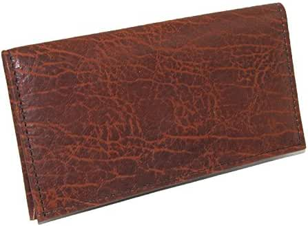 Boston Leather Textured Bison Leather Checkbook Cover