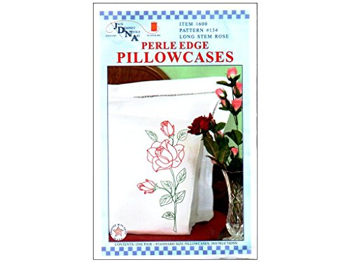 - Jack Dempsey 234495 Stamped Pillowcases With White Perle Edge 2-Pkg-Long Stem Rose