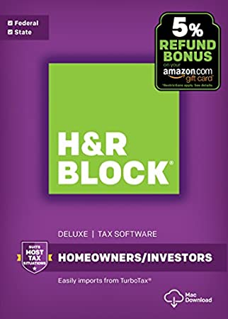 H&R Block Tax Software Deluxe + State 2017 + Refund Bonus Offer [Mac Download]