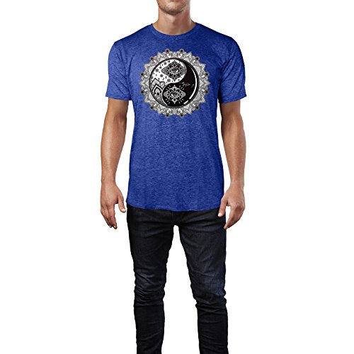 SINUS ART ® Yin and Yang Boho Mandala Symbol Herren T-Shirts in Vintage Blau Cooles Fun Shirt mit tollen Aufdruck