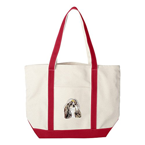 Cherrybrook Dog Breed Embroidered Canvas Tote Bags - Red - Shih Tzu ()