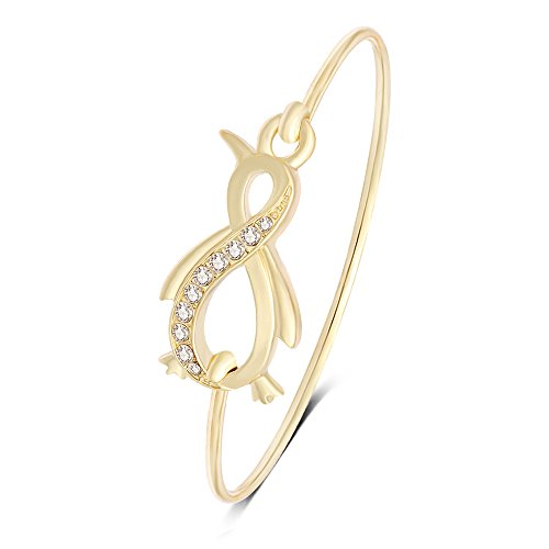 NOUMANDA Pretty Animal Jewelry Easy Open Penguin Bangle Bracelet -