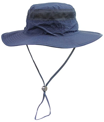 Outdoor Bonnie Hats Anti-UV Sportswear Polyester Sun Camping Caps Fishing Hat Deep Blue