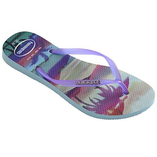 Womens Havianas Slim Paisage Slip On Thongs Rubber Beach Shoes Flip Flop - Ice Blue - 9