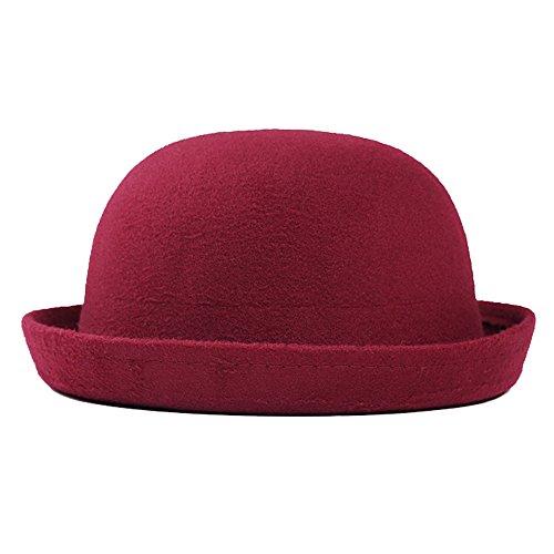 Boater Bowler Hat Women Men Autumn Winter Felt Plain Classic Derby (Bowler Hat Cheap)