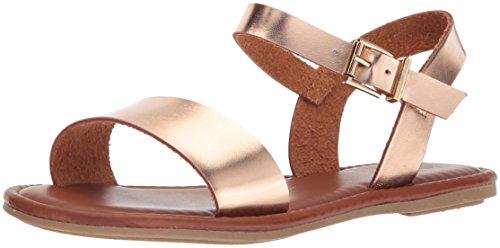 MIA WoMen Tia Flat Sandal, Cognac Rose Gold