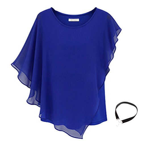 Boxy Fashion (Fashion Story Women Short Sleeve Chiffon Tops - XL - Blue)